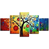 Izzya Resumen PinturaVan Gogh Estilo Árbol de Manzana Cuadro Decorativo Paneles divididos Alta definición Lona para Decoración hogareña- Art º Huellas Dactilares 5 Partes/Juego