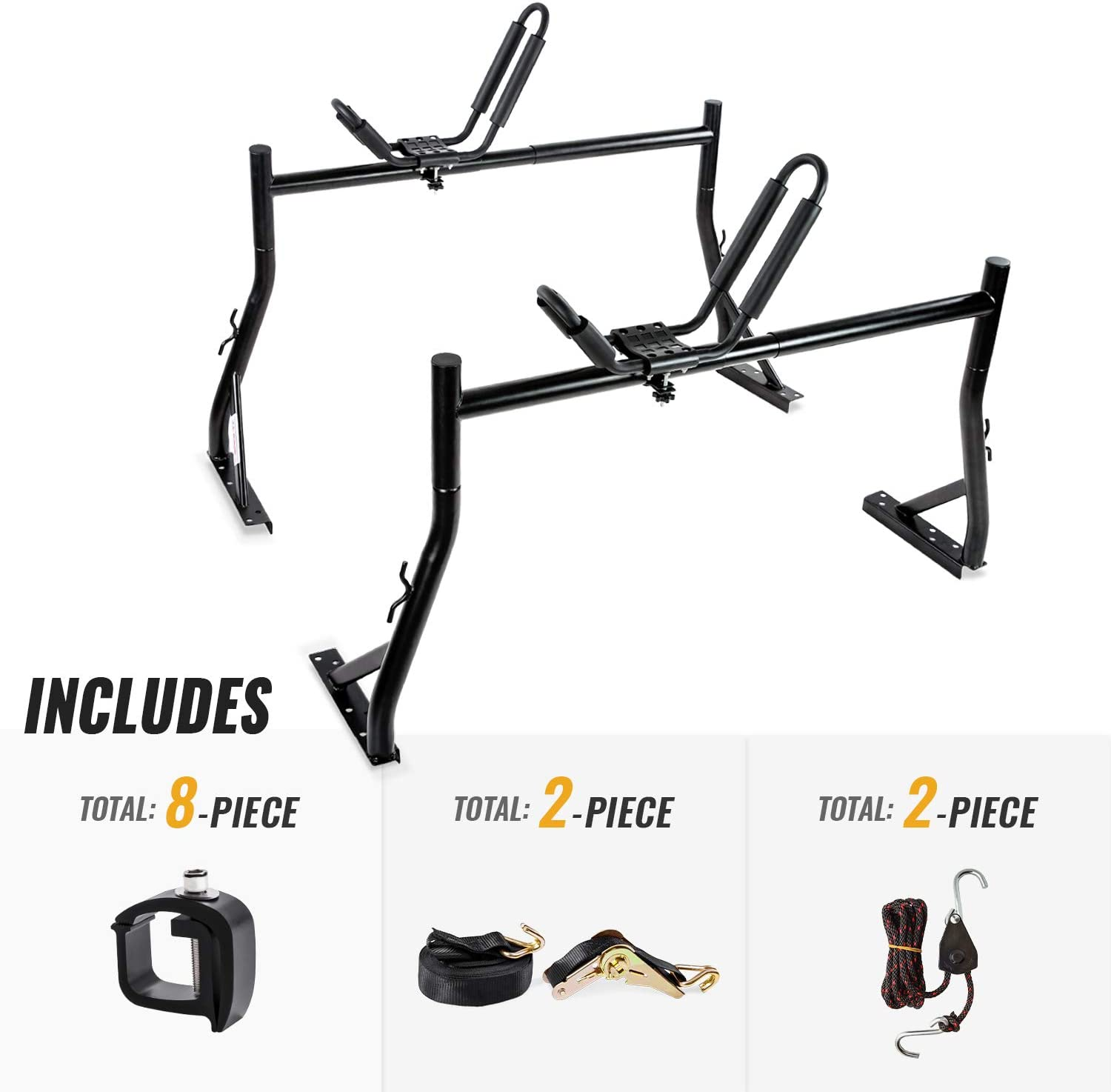 AA-Racks Model X35 Truck Rack with 8 Non-Drilling C-Clamps and Kayak J-Racks with Ratchet Lashing Straps & Ratchet Bow and Stern Tie Down Straps
