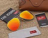 Ray-Ban RB3025 Aviator 58mm Gold Orange Flash Sunglasses