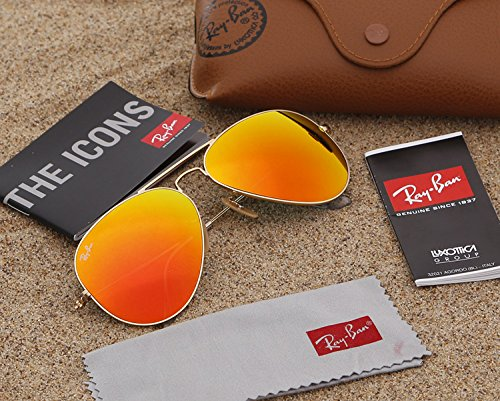 Ray-Ban RB3025 Aviator 58mm Gold Orange Flash - Number With Sunglasses Ray Ban