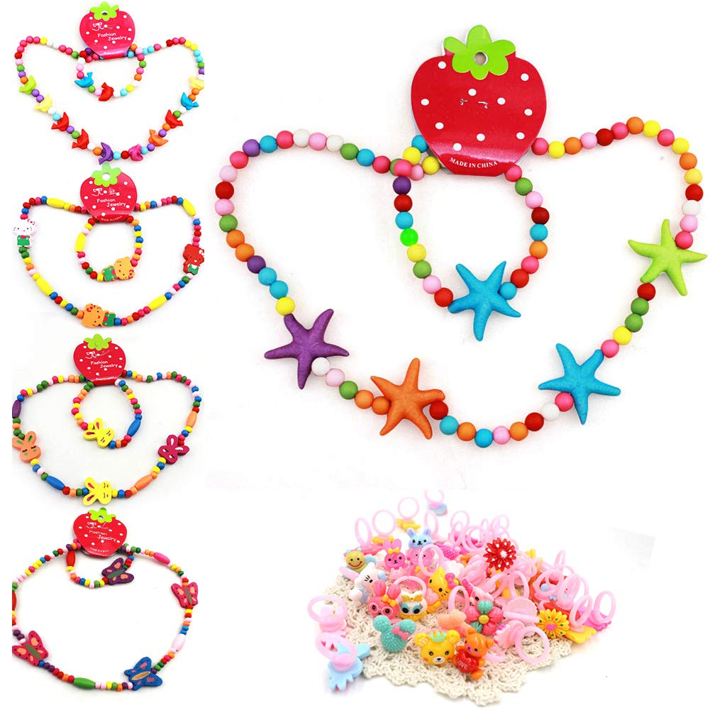 Y Healthfit Little Girl Jewelry Set 17pcs Stretch Necklace, Ring, Bracelet Set,Great Costume Jewelry for Girls Pretend Play and Dress Up by Y Healthfit