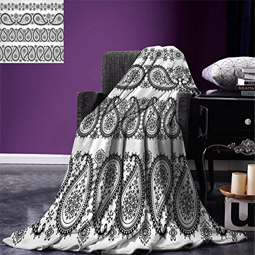 smallbeefly Paisley Custom Design Cozy Flannel Blanket Winter Themed Design and Lace Like Ornaments with Flowers and Snowflakes Art Lightweight Blanket Extra Big Black and (Lace Flannel Bedding)