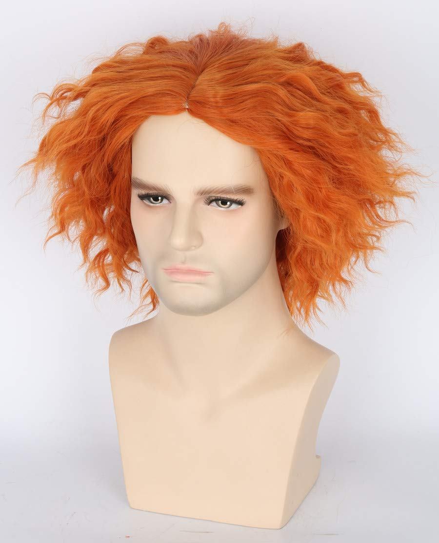 Topcosplay Shaggy Halloween Costumes Wig for Women Men Short Curly Cosplay Wigs Orange Ginger Wig