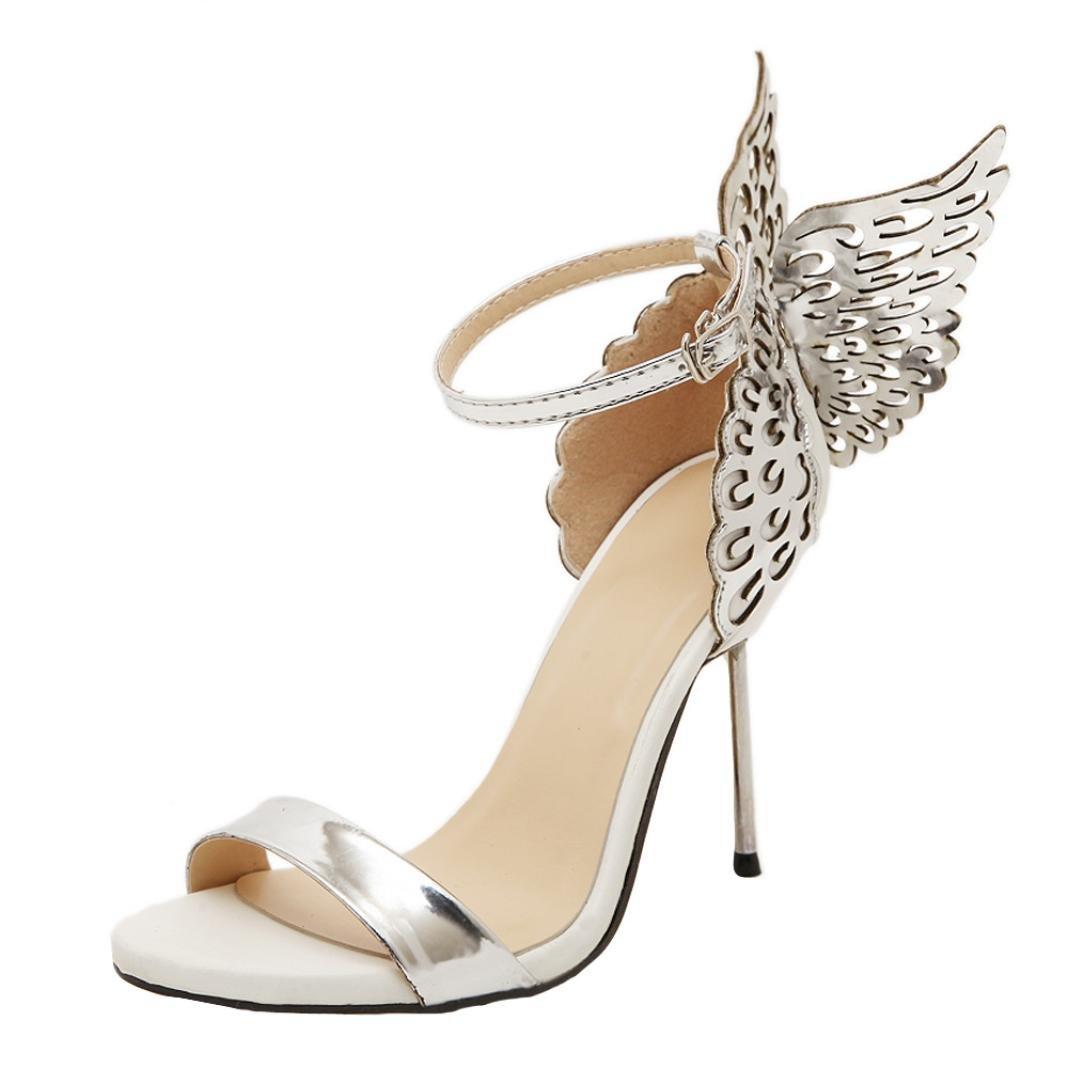 Sunbona Women Sexy Dress Sandals,Ladies Fashion Bronzing Sequins Big Bowknot High Heels Sandals Casual Wedding Party Shoes (US:7(RU/EU/CN38), Silver)
