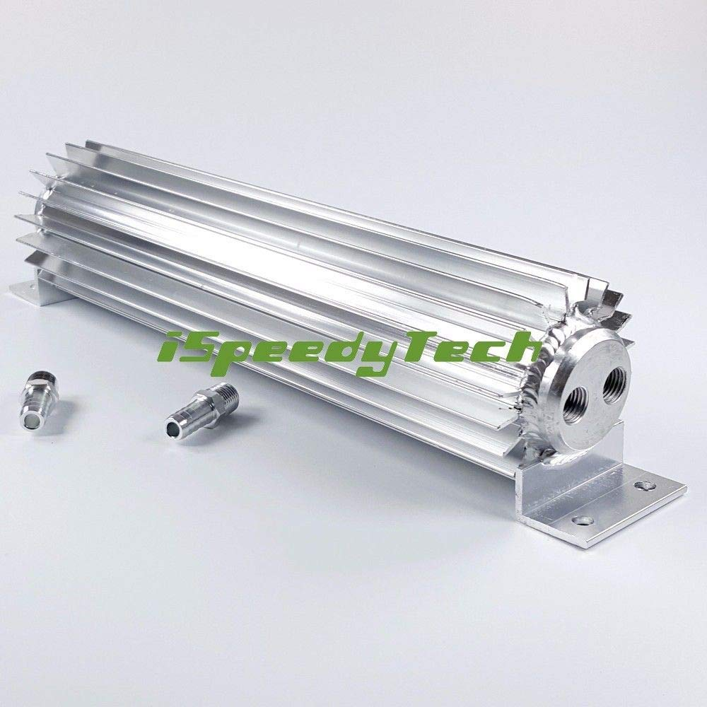 Dual Pass 15' INCH Transmission Oil Cooler FINNED Fittings Silver Aluminium New Ispeedytech
