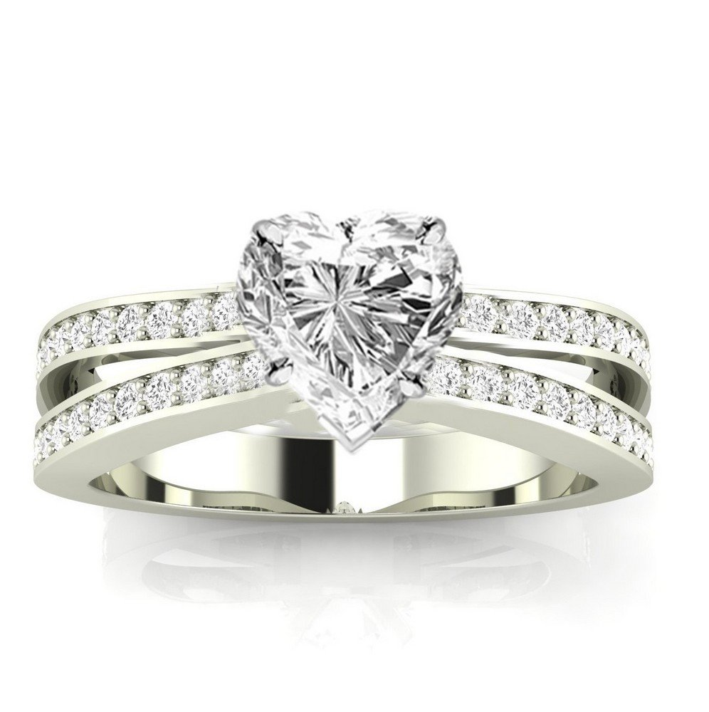1.4 Cttw 14K White Gold Heart Cut Contemporary Double Row Split Shank Engagement Ring with a 1 Carat H-I Color SI2-I1 Clarity Center