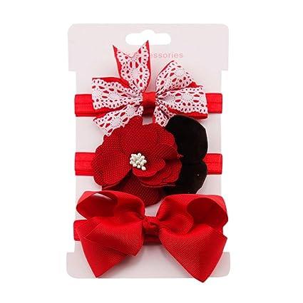 Diademas Bebé , Amlaiworld 3Pcs Niñas bebé Elástico Floral Diadema Cabello Banda para el cabello diademas