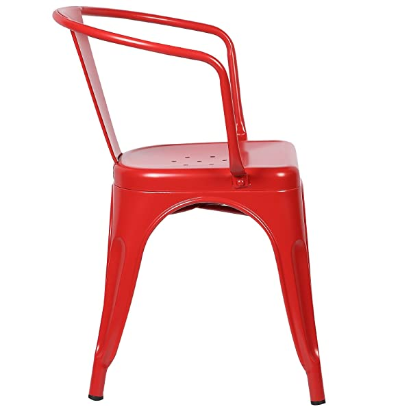 Poly and Bark Trattoria Arm Chair in Red (Set of 4)