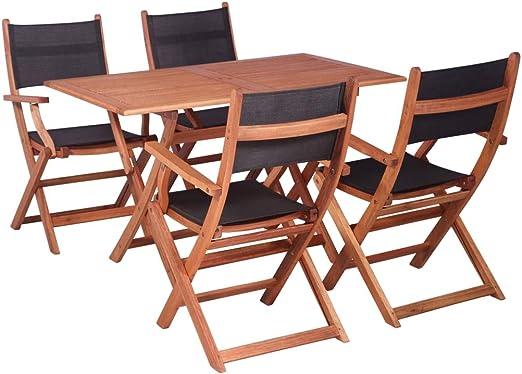 Festnight Conjunto Mesa y Sillas Jardin Juego de Muebles de Jardín 5 Piezas, Mesa + 4 Sillas Plegable, Madera de Eucalipto Negro: Amazon.es: Hogar