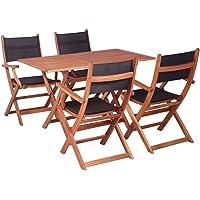 vidaXL 5 Pieces Solid Eucalyptus Wood Outdoor Dining Set Textilene Grey/Black