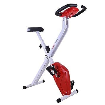 HOMCOM Bicicleta de Fitness Plegable Bicicleta Estática de Spinning Pantalla LCD Asiento Ajustable Resistencia Regulable a 8 Niveles Carga 110kg 83x43x110cm ...
