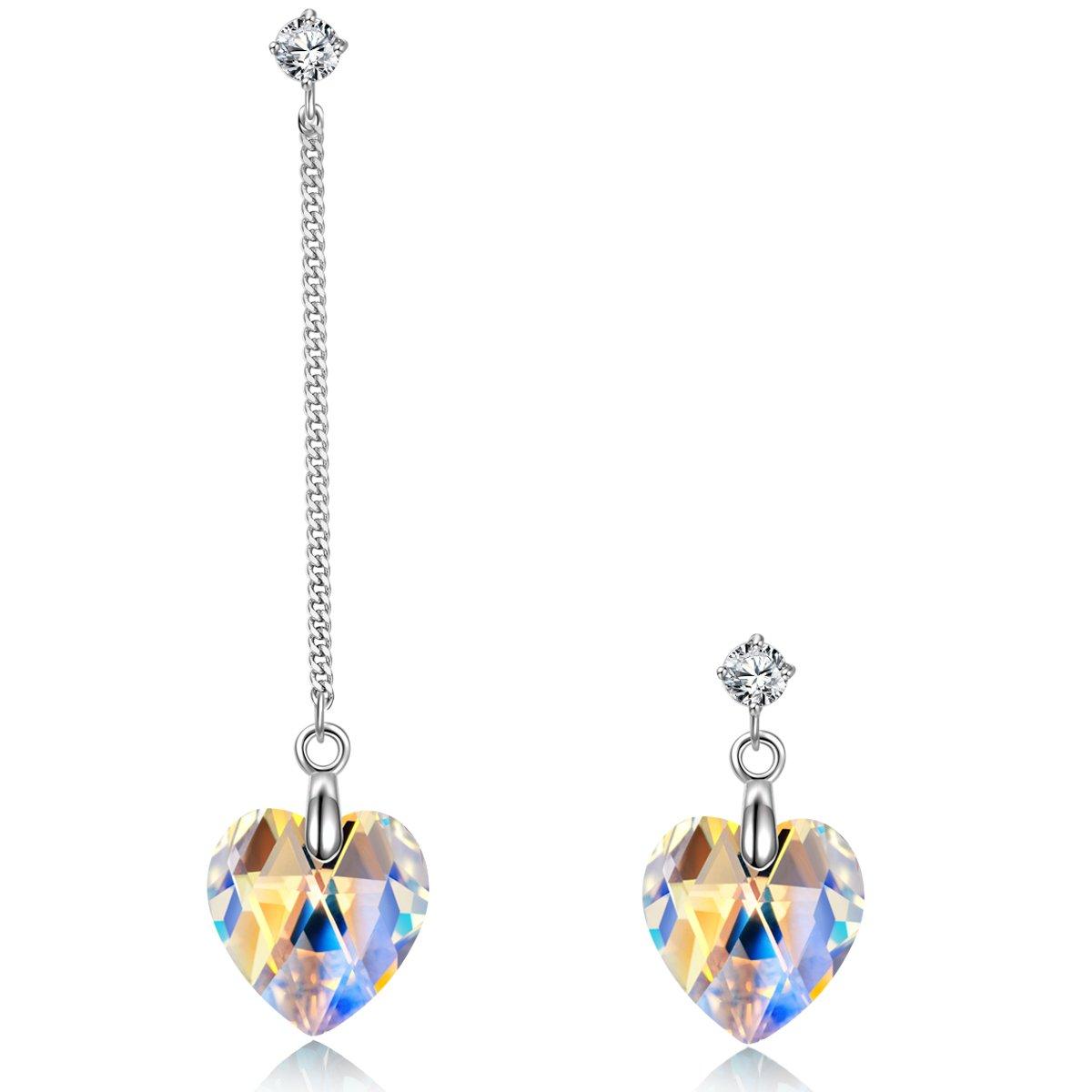 NINASUN Asymmetric Designed Earrings Glaring Love 925 Sterling Silver Drop Dangle Earrings Fine Jewelry for Women NINASUN Fine Jewelry NSE5667BD