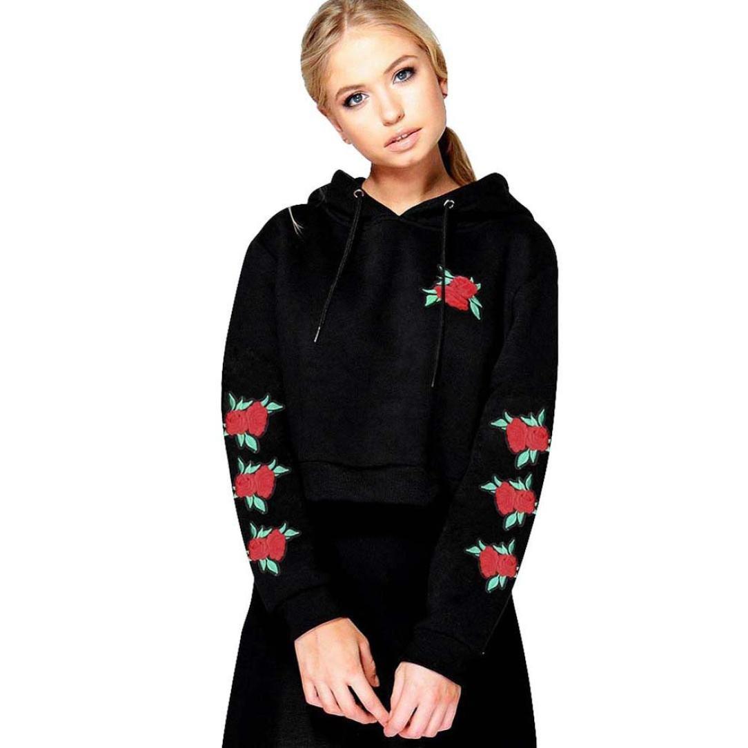 Welcomeuni Women Embroidery Applique Hoodie Sweatshirt Crop Top Coat Sports Pullover Tops (S, Black)