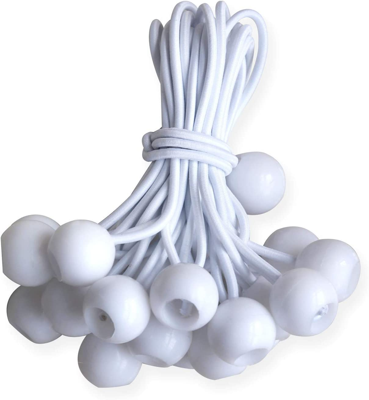 White 30pcs, 6 ABCCANOPY Heavy Duty Ball Bungee Canopy Tarp Tie Down Cord Elastic String Ball Bungee tarp Ball Ties
