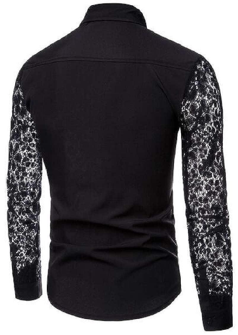 pipigo Mens Button Down Lace Splice Vogue Hollow Out Long Sleeve Shirt