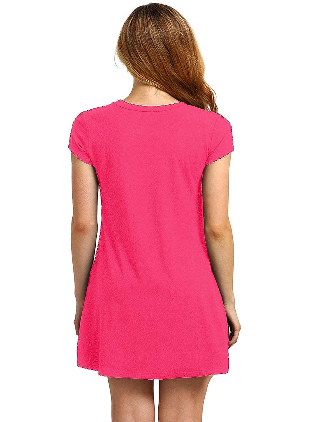 1a9f3caf03 Amazon.com  Romwe Women s Short Sleeve Shirt Casual Swing Dress Fuchia XL   Clothing