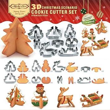 Bibettter - Juego de 8 moldes para galletas en 3D (acero inoxidable), diseño de árbol de Navidad, muñeco de nieve, trineo y alce: Amazon.es: Hogar