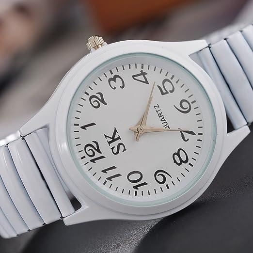 Amazon.com: Souarts Womens Silver Color Elastic Band Quartz Analog Wrist Watch 21cm: Watches