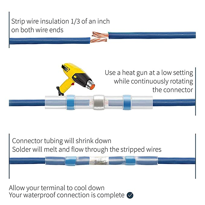 KKmoon 110 Conectores para soldar Conductores Conectores termorretr/áctiles terminales para Cables el/éctricos