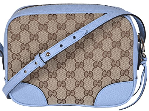 80436c0ae08 Gucci Women s Canvas Leather GG Guccissima Small Bree Crossbody Purse (Beige  Blue)