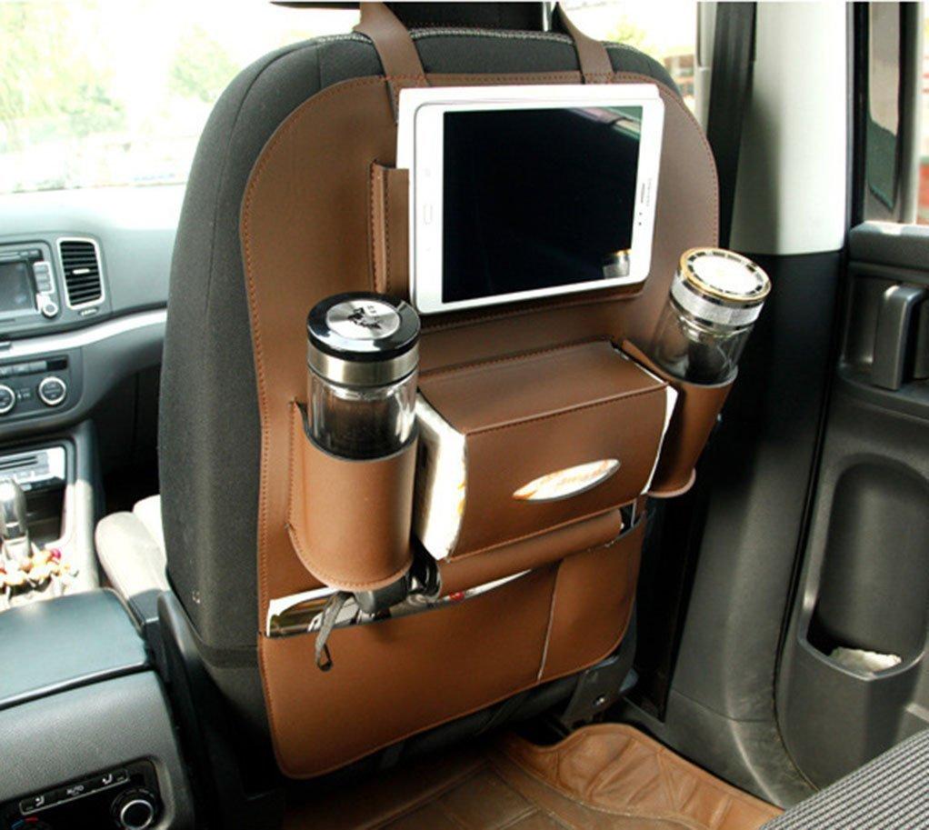 Universal Backseat Car Organizers Multipurpose Use Storage Bag PU Leather Kick Mat Water-Repellent Seat Back Protector (Brown)