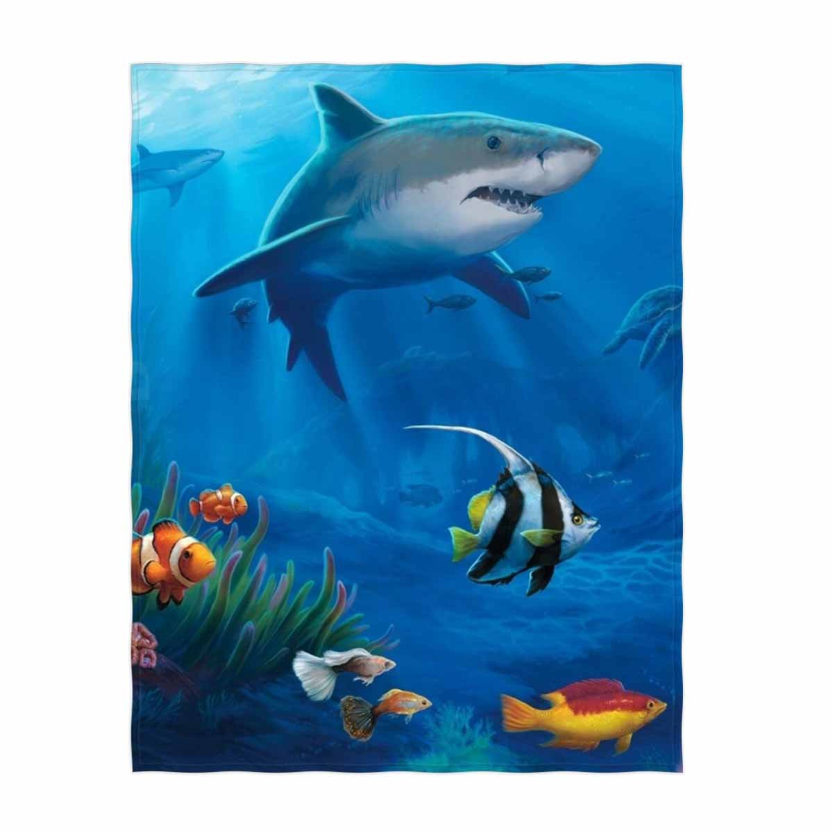 Custom Design Shark Seafish Printing Velvet Plush Throw Blanket Cozy Fleece Blanket Perfect for Couch Sofa bed or Travelling Queen Size