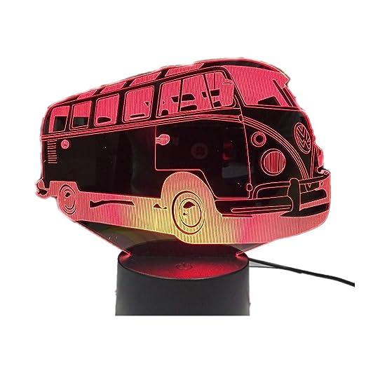KangYD Camping Bus 3D Lamp/LED Night Light Niños Cumpleaños ...