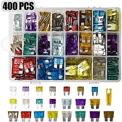 400 Stück Mini sicherungen Kfz,200+200 Stück Autosicherungen Set für Teile und Zubehör für Automobil, LKW, Geländewagen…
