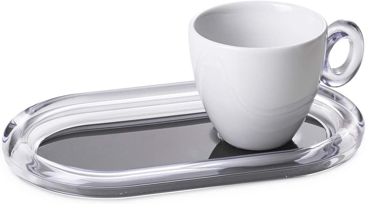 Omada Design 20 cl cada taza de t/é y bandeja de galletas de colores Crystal Line respectivamente en porcelana y acr/ílico transparente y blanco