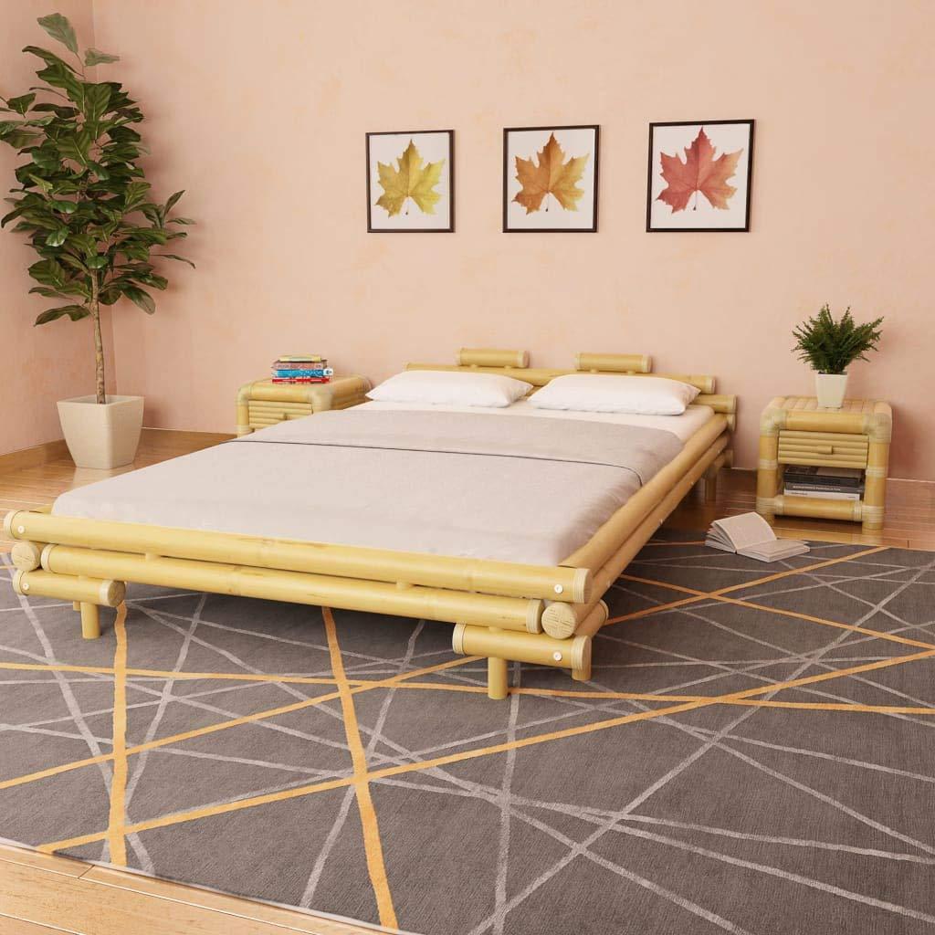 junhaofu Bambusbett 140 x 200 cm Natur Möbel Betten & Zubehör Betten & Bettgestelle