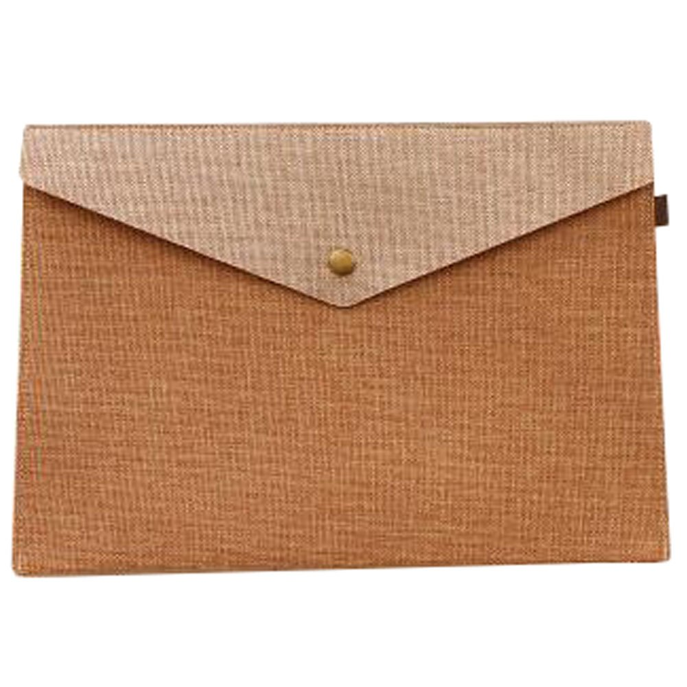 Cute File Bag Large Stationery Bag Pouch File Envelope for Office/School Supplies, Coffee