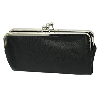 double frame vintage style clutch purse wallet black - Double Frame Clutch Wallet