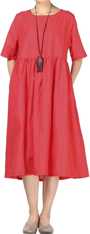 Mordenmiss Women's Cotton Linen Dress Summer Midi Dresses with Pockets