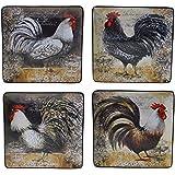 """Certified International 57475SET/4 Vintage Rooster Dinner Plates (Set of 4), 10.25"""", Multicolor"""