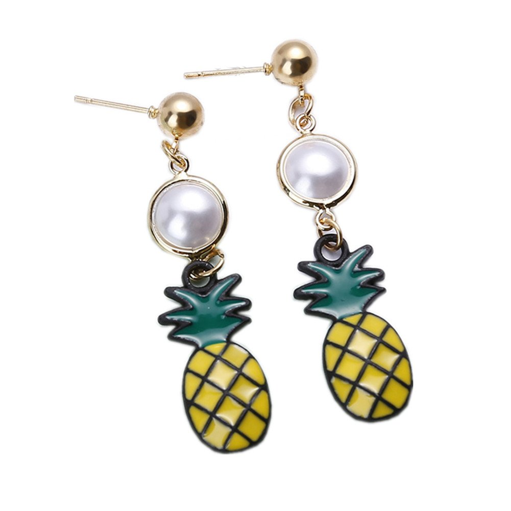 18K Gold Plated Two-Tone Round imitation Pearls With Pineapple charm Long Tassel Dangle Drop Earrings
