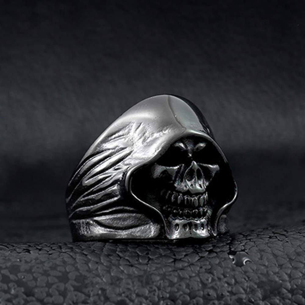 SAINTHERO Men's Large Vintage Biker Gothic Casted Death Grim Reaper Skull Stainless Steel Punk Ring Black Size 7 by MENSO (Image #6)