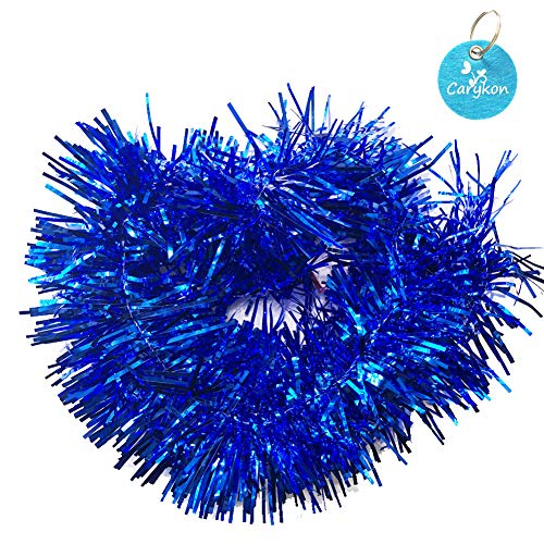 - Carykon Elegant Hanging Sparkly Tinsel Garland, 5 Pcs, Each 3 Inch W x 6 Feet L, Holiday Decoration (Blue)