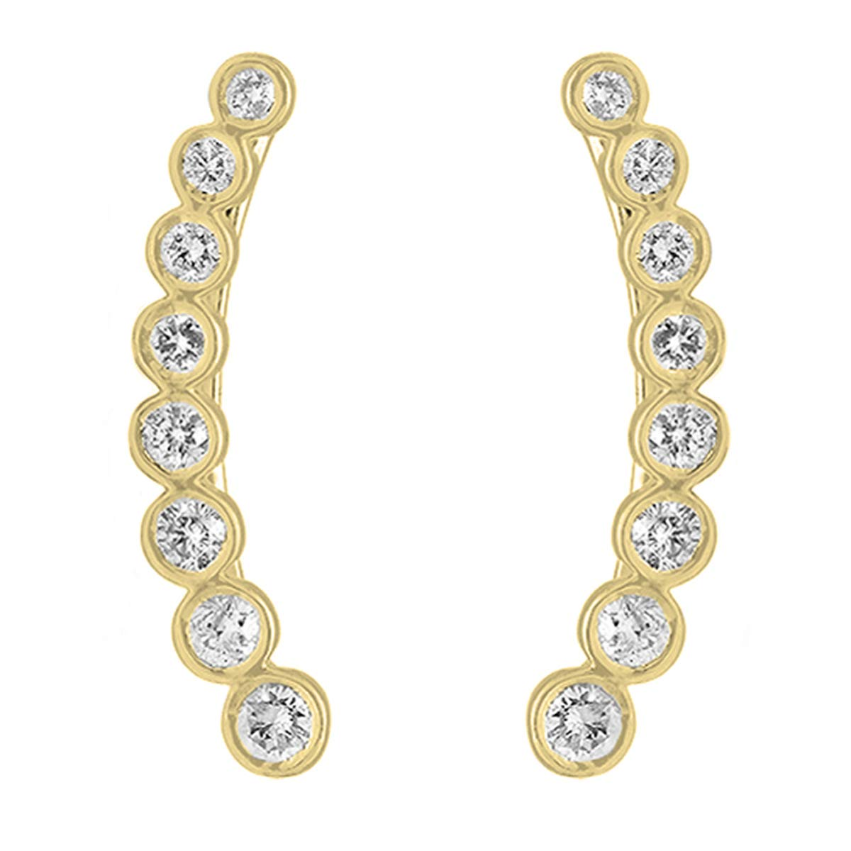 Dazzlingrock Collection 0.60 Carat (ctw) 14K Round White Diamond Ladies Journey Curved Climber Earrings, Yellow Gold