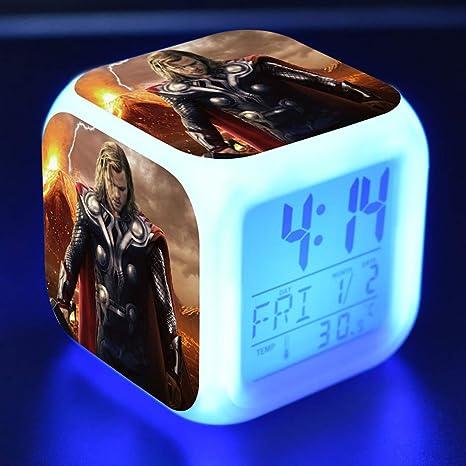 SXWY Raytheon 3 Dioses crepúsculo Reloj Despertador Digital, Luces Coloridas Estado del ánimo Reloj Cuadrado