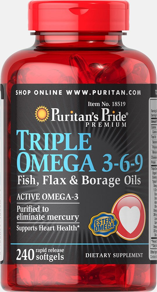 Puritan's Pride Triple Omega 3-6-9 Fish, Flax, and Borage Oils, Active Omega-3 Supplement Purified to Eliminate Mercury, 240 Rapid Release Softgels