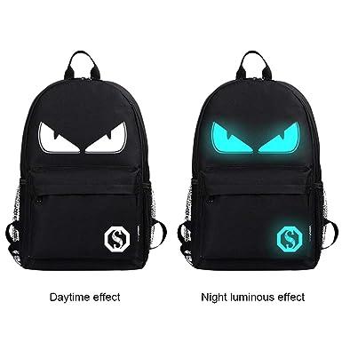8e031849a63 Cool Boys School Backpack Luminous School Bag Music Boy Backpack for Kids ( Black Devil Eye