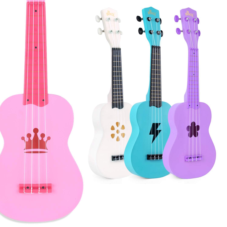 Beginner Ukulele Macaron Colors 21 Inches Soprano Kids Starter Hawaii Ukuleles Bundle with Gig Bag, Pink