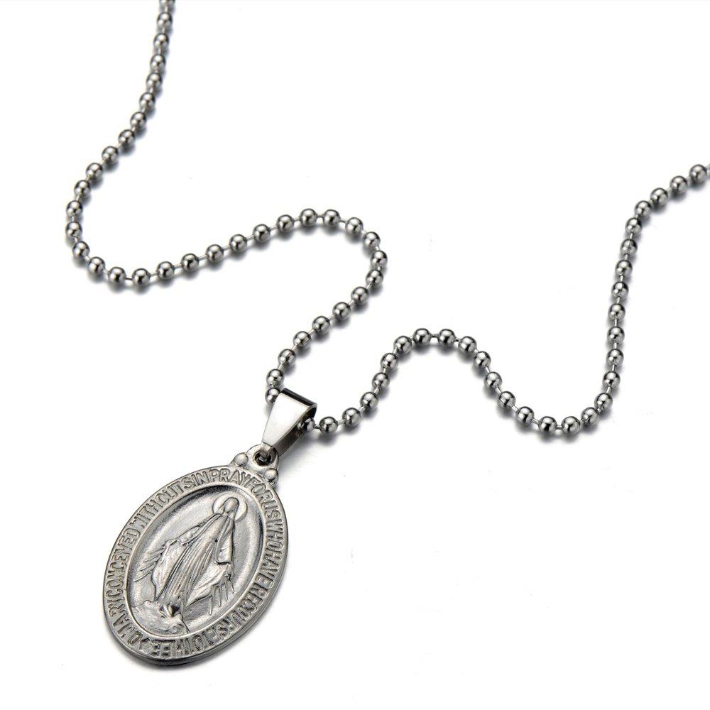 Acier Inoxydable H+C M/édaille Miraculeuse Pendentif Vierge Marie Maria Collier pour Homme et Femmes avec 60CM Cha/îne de Boule