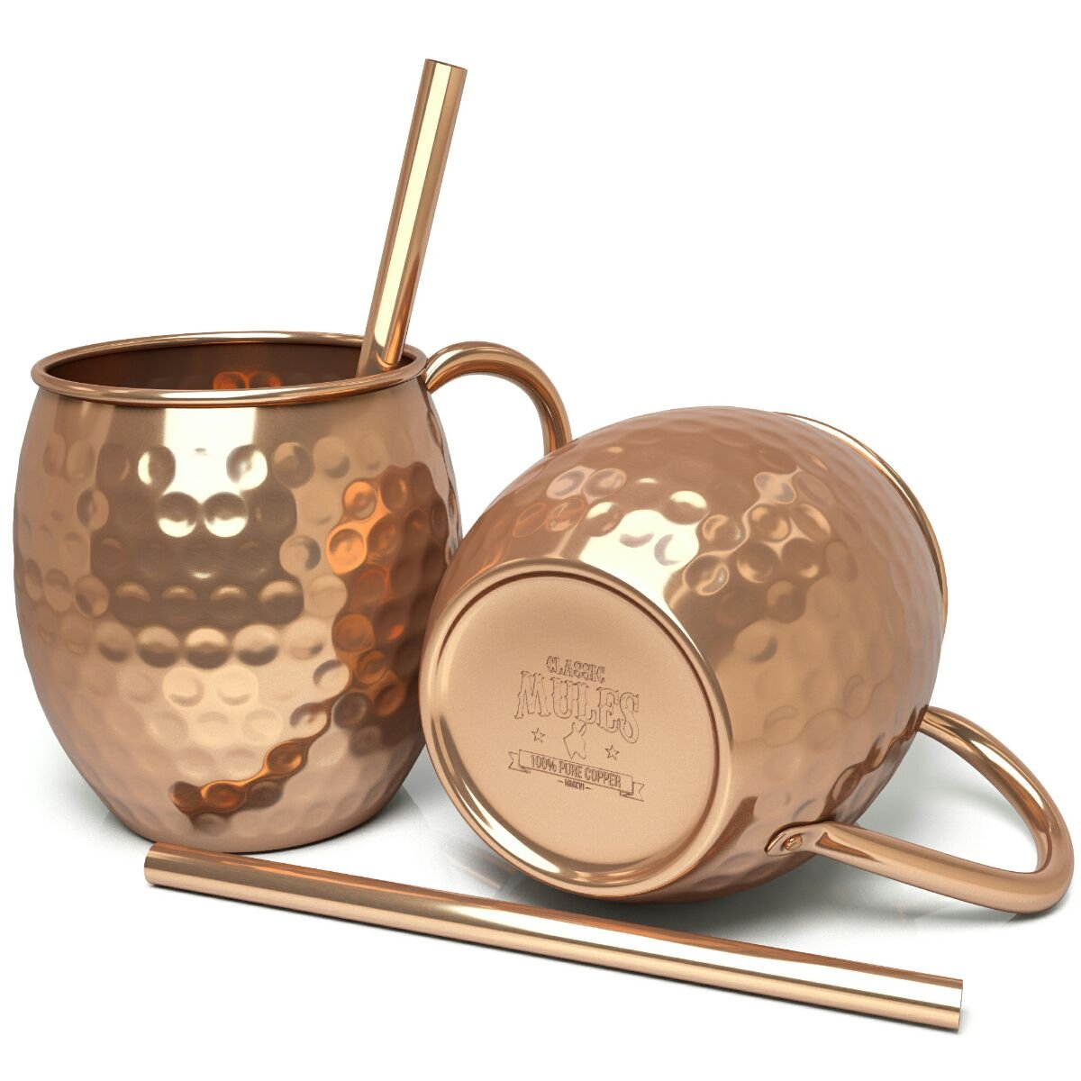 100% Pure Copper Mugs (set of 2) - 16oz Hammered Copper Cups - BONUS Copper Straws - Moscow Mule Copper Mugs - Riveted Handles
