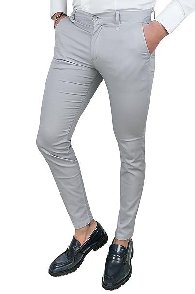 1eebb81a2aeffb Pantaloni uomo Battistini grigio chiaro casual eleganti slim fit in cotone  (42)