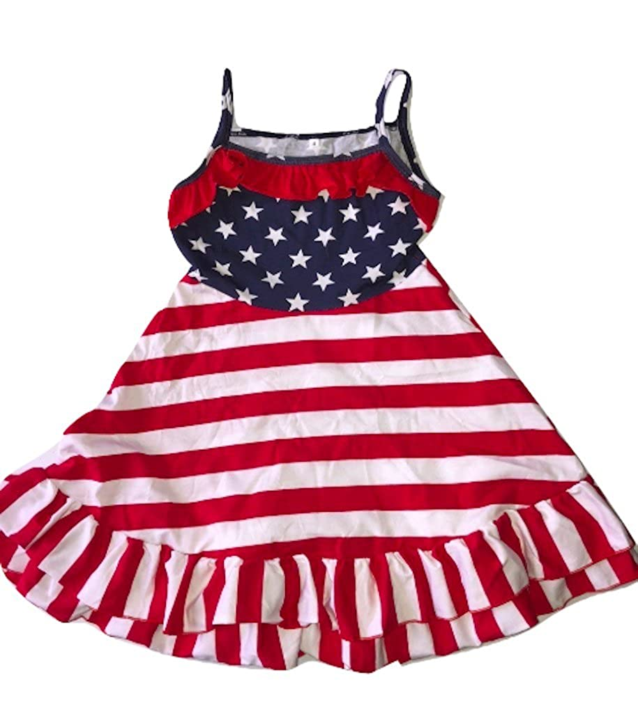 3dbe34653cd L C Boutique Girls Patriotic Red White Blue Cotton Ruffle Sundress in Size  2 to 10