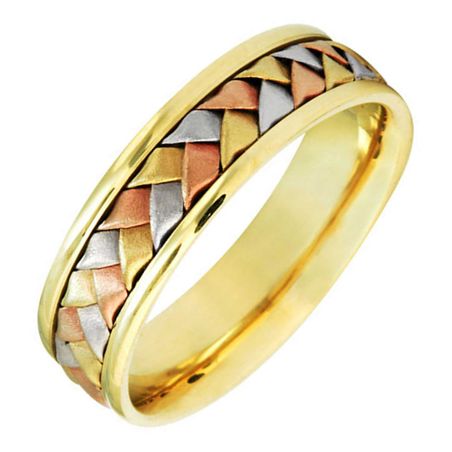 14K Tri Color Gold Braided Basket Weave Women's Comfort Fit Wedding Band (6mm) Size-7.5c1