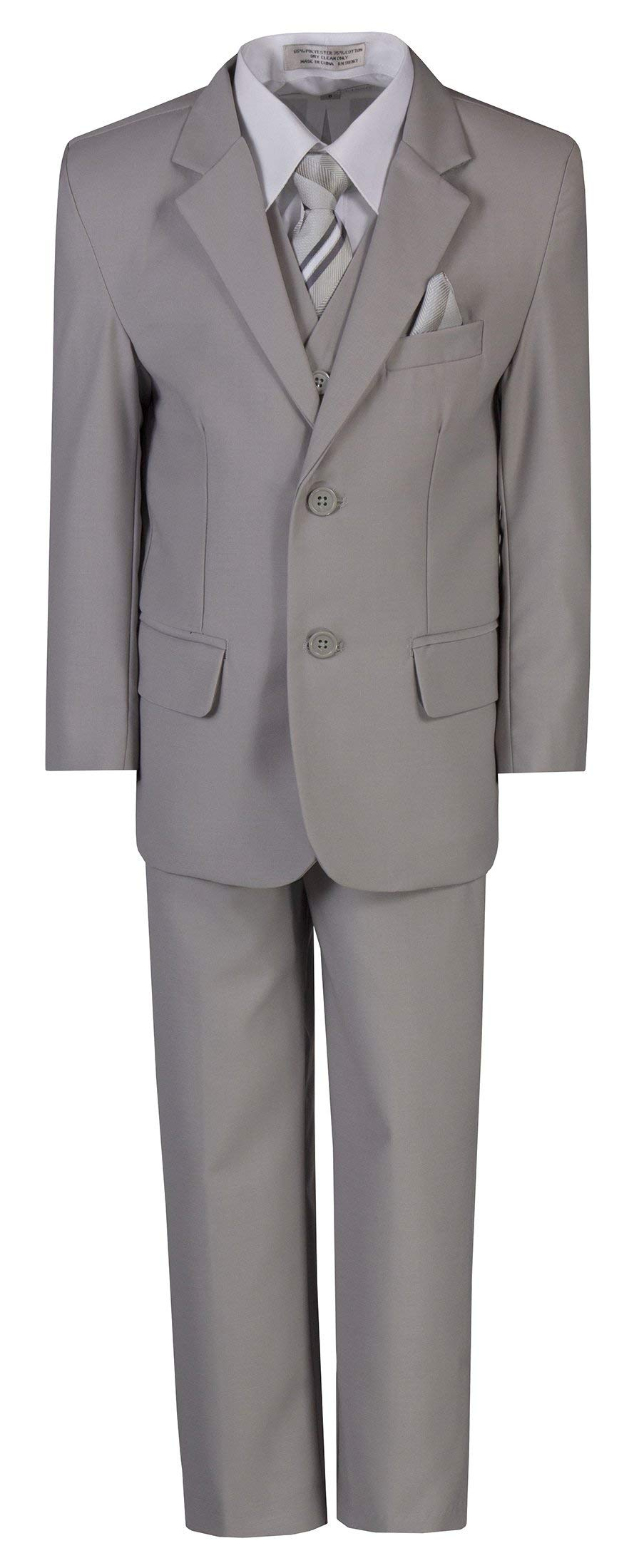 Boys 6 Piece Classic Suit with Neck Tie for Standard and Husky Sizes Light Gray