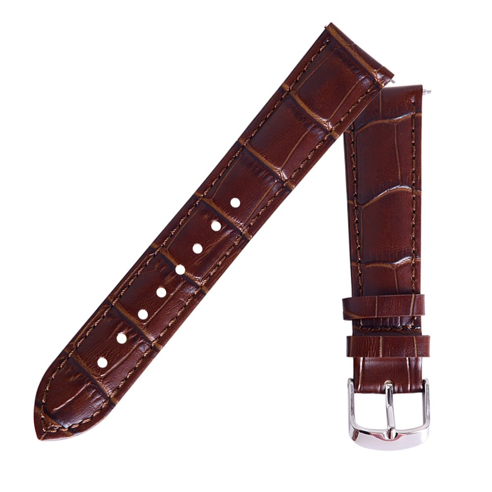 Ritche 18mm Black Brown Quick Release Genuine Leather Watch Bands Replacement Watch Strap for Men Women by Ritche (Image #3)