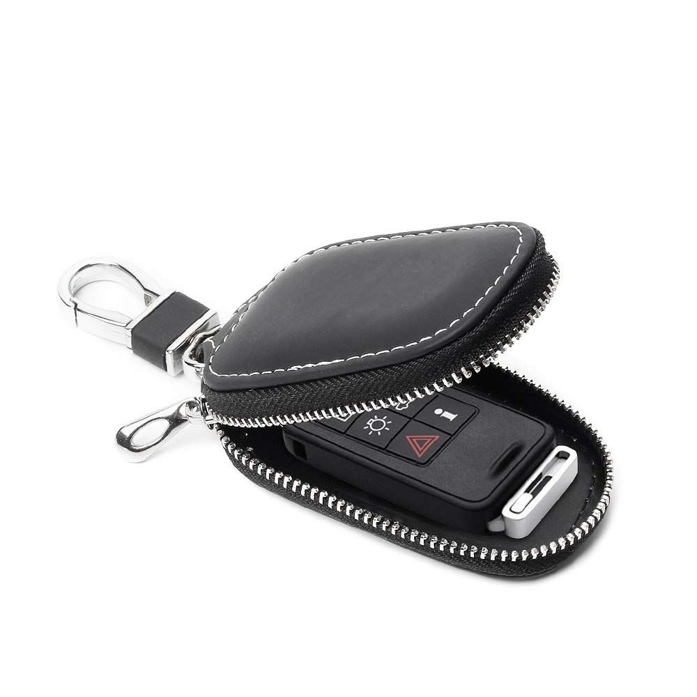 V/éritable Cuir Voiture Key Case,/Étui Porte-cl/és Voiture Cuir V/éritable /À Distance Pochette en Cuir V/éritable pour Hommes Zipper Voiture Key Case Brown
